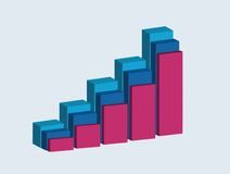 Raising charts. A graphic showing growing chart, vector illustration Stock Illustration