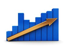 Raising charts. Abstract 3d illustration of graph with arrow over white background Royalty Free Stock Image