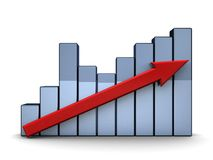 Raising charts. 3d illustration of raising charts nad red arrow, over white background Royalty Free Stock Image