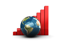 Raising charts and earth Royalty Free Stock Photo