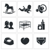 Raising a child Vector Icons Set Royalty Free Stock Image