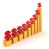 Raising dollar financial bar chart Royalty Free Stock Photo