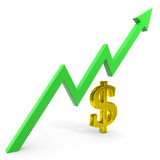 Raising dollar graph. Royalty Free Stock Photo