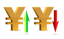 Raising and falling yen sign currency Stock Images