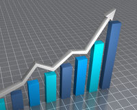 Raising financial statistics. 3D rendered image showing rapid growth Stock Photography