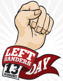 Raising Fist and Greeting Label and Calendar for Left-handers Day, Vector Illustration stock illustration