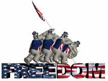 Raising the Flag of Freedom vector illustration