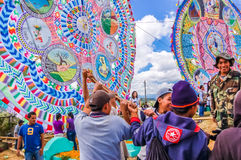 Raising a giant kite, All Saints' Day, Guatemala Stock Image