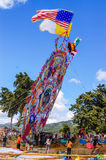 Raising a giant kite with flags, All Saints' Day, Guatemala Royalty Free Stock Photo