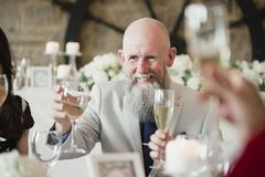 Raising A Glass To My Daughter And Son-In-Law. Senior men is raising his glass to a toast at his daughters wedding meal Stock Images