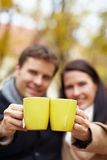 Raising glasses with tea Stock Images