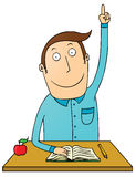 Raising hand student. Illustration of a raising hand student Royalty Free Stock Photography