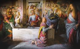 Raising of Lazarus biblical scene representation presepe. Biblical scene representation presepe of the Raising of Lazarus Sacro Monte di Varallo, Piedmont, Italy stock image