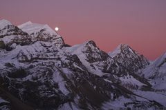 Raising moon over Purbung Himal, Nepal Stock Photography