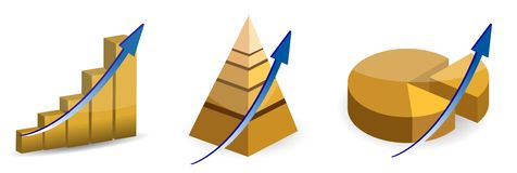 Raising pie, pyramid and bar charts. Isolated over a white background Royalty Free Stock Photo