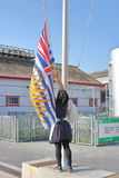 Raising Provincial Flag at Gulf of Georgia Cannery Stock Photography