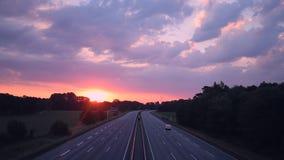 Sunrise over Busy German Motorway stock video footage