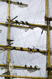 Raising the sails. Russian sailors hoisting up the sails of an old sailing ship at a tall ship festival in Yeosu, South Korea.  Yeosu will hold the 2012 world Royalty Free Stock Images