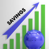 Raising Savings Chart Showing Financial Success. And Growth Stock Photos