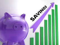Raising Savings Chart Shows Monetary Growth Stock Photos