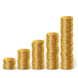 Raising stacks of golden coins Royalty Free Stock Images