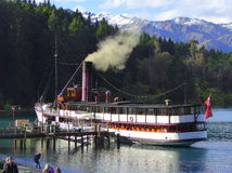Heritage steamship moored at pier royalty free stock photography