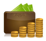 Raising Wallet Money illustration. Design Stock Photo
