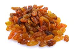 Raisins. Sweet raisins on white background Royalty Free Stock Photos