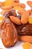 Raisins, almonds and dates. On white background Stock Photo