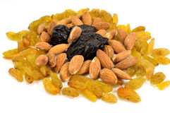 Raisins, almonds, prunes Stock Photos