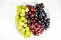 Raisins aspermes noirs, rouges, verts dans une cuvette blanche profonde images stock