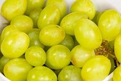 Raisins aspermes verts dans une cuvette blanche profonde sur un conte blanc attendant pour être mangé image stock