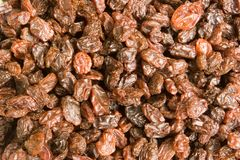 Raisins background. A plate of raisins seen close up, as a background royalty free stock photography