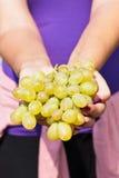 Raisins blancs dans des mains femelles Image libre de droits