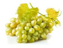 Raisins blancs de groupe avec la feuille Photo stock