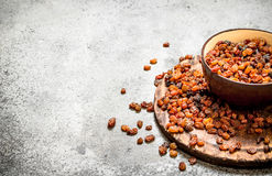 Raisins in a bowl. Royalty Free Stock Images