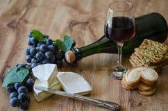 Raisins, brie avec du vin et biscuits Image libre de droits