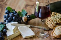 Raisins, brie avec du vin et biscuits Images libres de droits