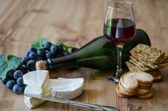 Raisins, brie avec du vin et biscuits Image stock