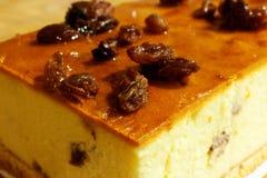 Raisins cake. White baked cheesecake with raisins Stock Images