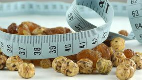Raisins and Chichpea Macro View and Measurement. Raisins Macro and Chickpea View and Measurement video stock footage