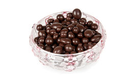 Raisins in chocolate. Raisins in the chocolate in a vase Stock Photo