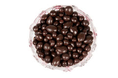 Raisins in chocolate. Raisins in the chocolate in a vase Stock Photography
