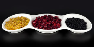 Raisins, dried cranberries and dried blueberries Royalty Free Stock Photography
