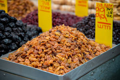 Raisins. Dry raisins on tray on open market Stock Images