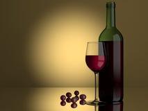 Raisins en verre de vin rouge Photographie stock