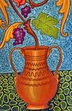 Raisins et feuilles peints Photographie stock libre de droits