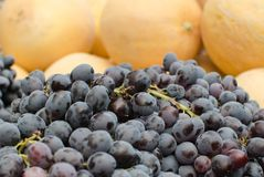 Raisins et melons noirs à vendre au marché local images libres de droits