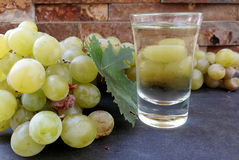 Raisins et verre de vin sec Photo libre de droits