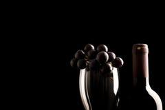Raisins frais sur le verre et le vin Photographie stock